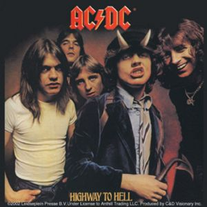 AC/DC Highway To Hell LP cover vinyl sticker 100mm x 100mm  (cv)